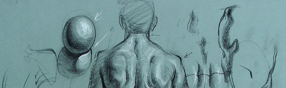 Drawing the Male Back on Toned Paper